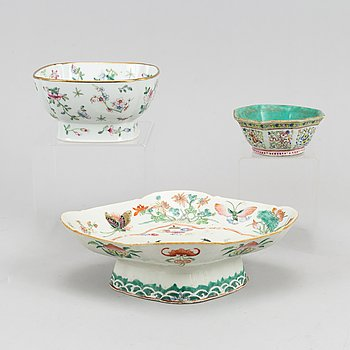 A group of three famille rose bowls, China, 20th Century.