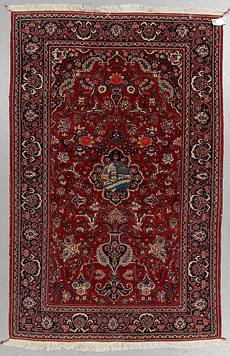 A rug, semi-antique kashan, ca 209 x 134 cm.