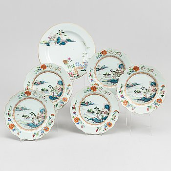 A famille rose dish and five plates, Qing dynasty, Yongzhen (1723-35).