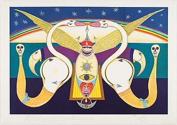 Friedrich Schröder-Sonnenstern, lithographs in colour, 5, 1971, signed.