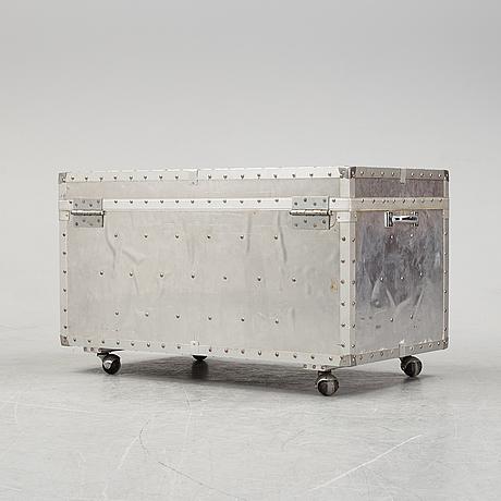 A large metal storage box on wheels, 20th century.