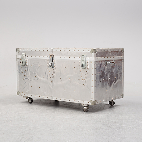A large metal storage box on wheels, 20th century.