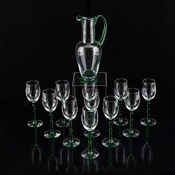 Twelve parts of the glass service 'Nobel' by gunnar Cyrén, Orrefors.