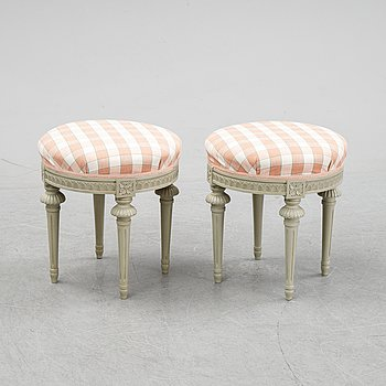 A pair of Gustavian style stools, 20th Century.