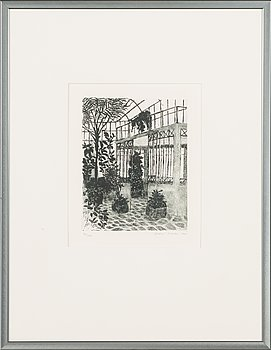 Inari Krohn, etching, signed and dated 1985, numbered 90/100.