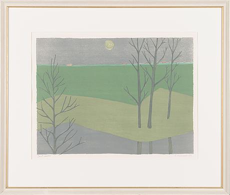 Veikko vionoja, litografia, signeerattu ja päivätty -89, merkitty tait.vedos.