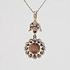 Old-cut diamond and pearl pendant.