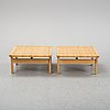 Børge mogensen, a pair of  rattan benches/tables, model 5274, fredericia stolefabrik, denmark. mid 20th century.