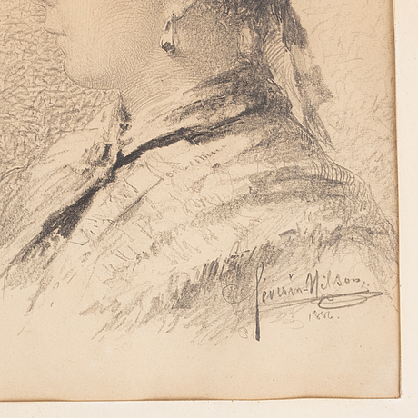 Severin nilson, pencil drawing, signed and dated 1886.