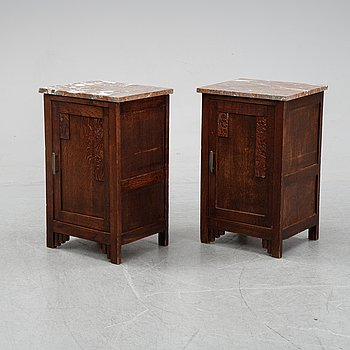 Two oak bedside tables, first half of the 20th Century.