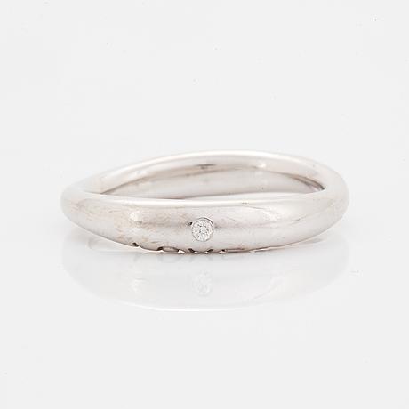 Ole lynggaard, charlotte lynggaard,  love ring nr 3 white gold with brilliant-cut diamond ca 0.015 ct.