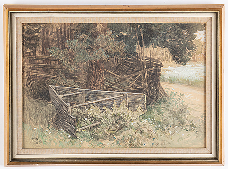 Georg pauli, watercolour, signed and dated -98.