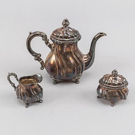 Kaffeservis, 3 delar, silver, rokokostil, tyskland, 1900-tal.