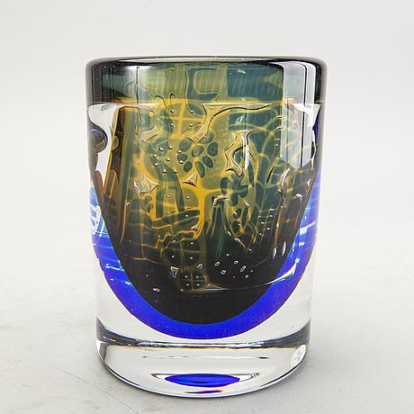 Edvin öhrström, a signed glass vase.