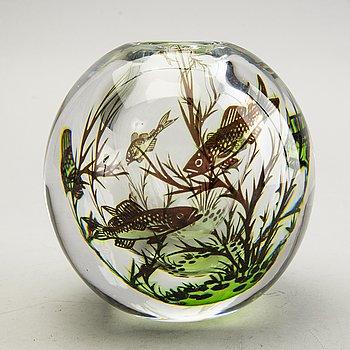 """Edward Hald, vase, glass, """"Fiskgraal"""", 1949 Orrefors."""