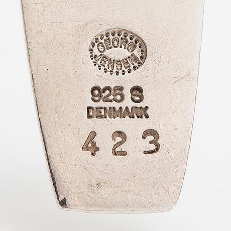 Riipus malli 423 ja sormus malli 107, sterlinghopeaa. georg jensen, tanska.