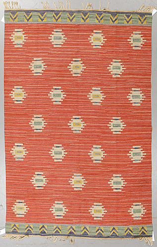 A carpet, flat weave, ca 244,5 x 155 cm, sweden, first half of the 20th century.