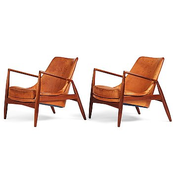 """419. Ib Kofod Larsen, a pair of teak and cognac coloured leather """"Sälen"""" chairs, for Olof Perssons Fåtöljindustri (OPE), Sweden, 1950-60's."""