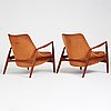"""Ib kofod larsen, a pair of teak and cognac coloured leather """"sälen"""" chairs, for olof perssons fåtöljindustri (ope), sweden, 1950-60's."""