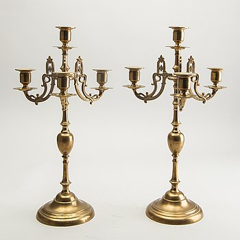 Gusum, Candelabra, a pair, No. 2, brass, 20th century.