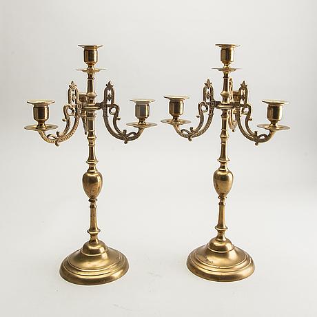 Gusum, candelabra, a pair, no. 2, brass, 20th century.