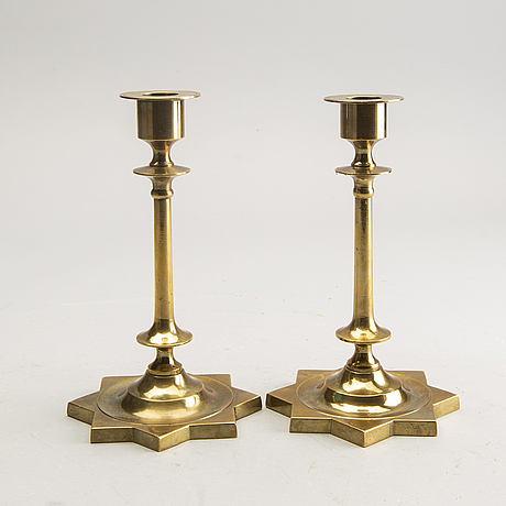"Skultuna brassworks, ""stjärnestaken"", candlesticks, a pair, brass."