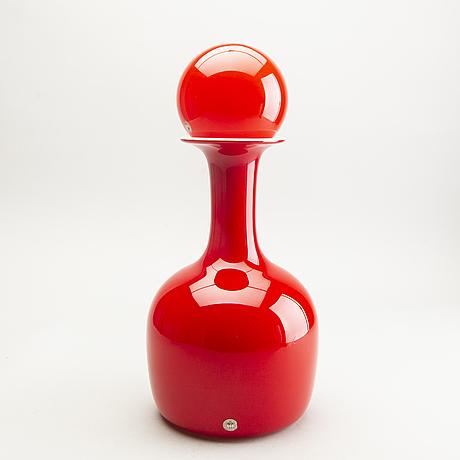 "Otto brauer, a glass decanter ""kastrup / holmegaard"", 1970s."