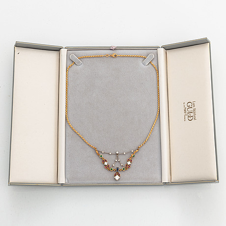 Diamond, rubies, and emerald and sapphire necklace.