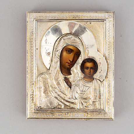 A russian early 20th century icon, with silver oklad, moscow 1908-1926.