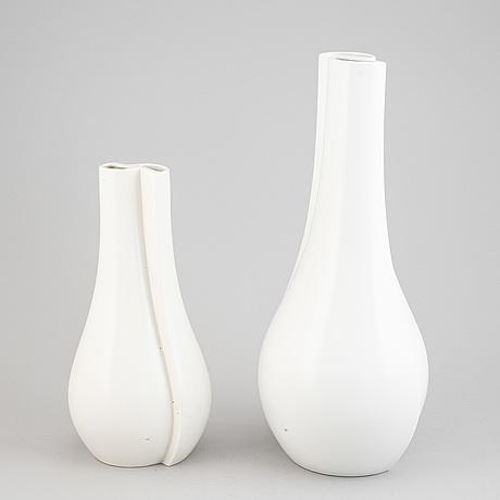 """Wilhelm kåge, two """"surrea"""" ceramic vases, gustavsberg, sweden, possibly prototypes."""