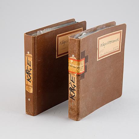 Wilhelm kåge, två kataloger med avbildade modeller för gustavsberg, 1939.