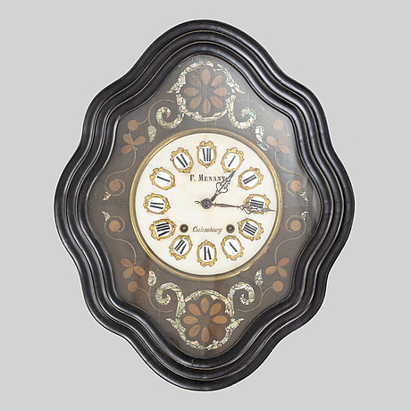 A french wall clock, f. menant, chateaubourg, late 19th century.