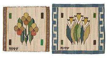 "202. Märta Måås-Fjetterström, textiles, 2 pcs., ""Blomlapp"", tapestry weave, ""Pingstlilja"" ca 28,5 x 29,5 cm, ""Pensé"" ca 25,5 x 26 cm, signed AB MMF."