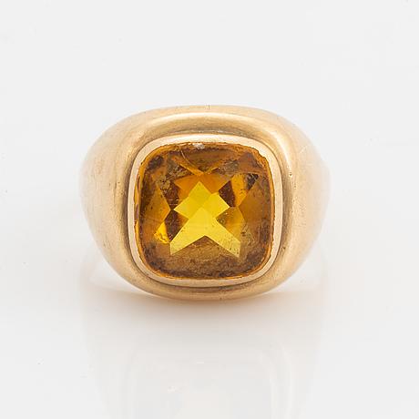 18k gold and citrine ring, bengt hallberg.