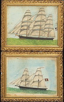 Two portraits of sailing ships, mixed media, 19th century.