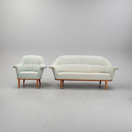 Bertil fridhagen, fåtölj och soffa, 1900-talets mitt.