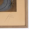 Joan miró, after, lithograph in color, signed and numbered 74/300, executed 1952.