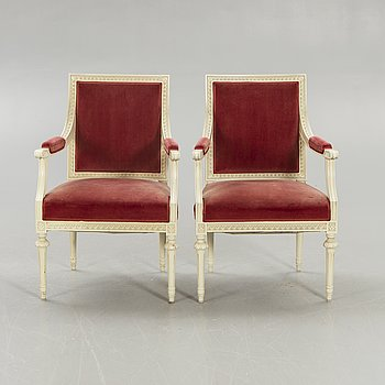 A pair of Gustavian style armchairs 20th century.