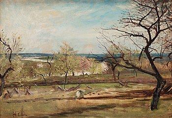 "754. Carl Fredrik Hill, ""Landskap med fruktträd"" (Landscape with fruit trees)."