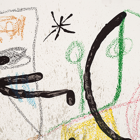 Joan miró, lithograph in colour. printed signature.