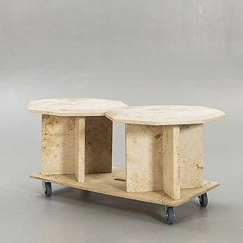 A pair of travertine side tables later part of the 20th century.