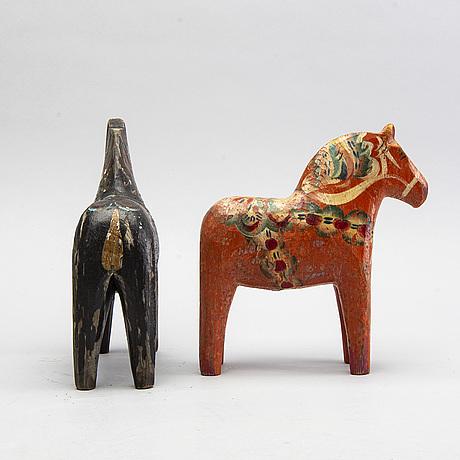 Dala horses, two, 1900s.