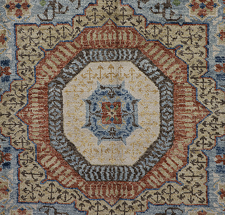 A carpet, mamluk design, ca 364 x 254 cm.