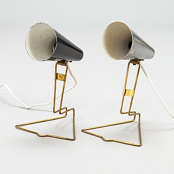 Two mid-20th century 'K11-26' table / wall light for Presenta/Idman.