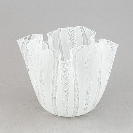 Paolo venini & fulvio bianconi, a 'fazzoletto' glass bowl,  venini, murano, italy.