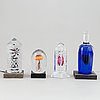 Four glass sculptures by different artists, 21st century.