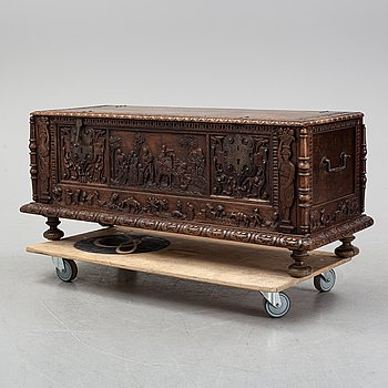 A south European carved walnut cassone chest, 19th century or older.