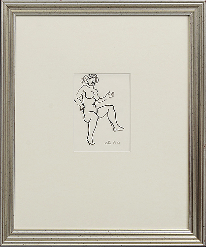 Peter dahl, a signed ink drawing.