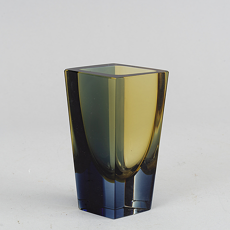 Kaj frank, a glassv vase, 'prisma', from nuutajärvi notsjö, signed and dated -65.