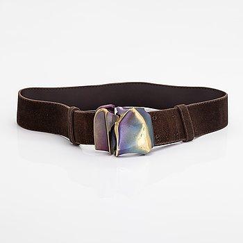 "Björn Weckström, A leather and flame bronze belt ""Pontiac 59"". Lapponia."